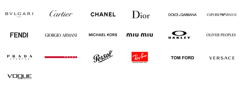 Marki uczestniczące w Optique Club - Bvlgari, Cartier, Chanel, Dior, Dolce & Gabbana, Fendi, Giorgio Armani, Michale Kors, Miu Miu, Oakley, Ray-Ban oraz wiele innych